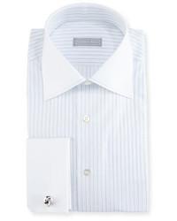 Stefano Ricci Striped Stitch Trim Dress Shirt