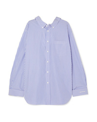 Balenciaga Swing Printed Striped Cotton Poplin Shirt