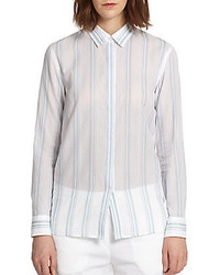 Theory trillith striped cotton shirt medium 323728