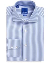 Trim fit stripe dress shirt medium 601134