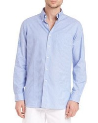Light Blue Vertical Striped Linen Long Sleeve Shirt