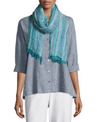 Eileen Fisher Catalina Striped Artisanal Scarf Myrtle