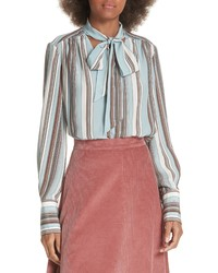 Elizabeth and James Mimi Tie Neck Stripe Silk Blouse