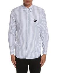 Comme Des Garcons Play Black Heart Stripe Oxford Shirt