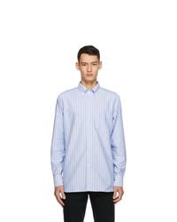 Drakes Blue And White Oxford Stripe Regular Fit Shirt