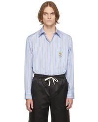 Gucci Blue Beige Striped Cat Patch Boxy Shirt