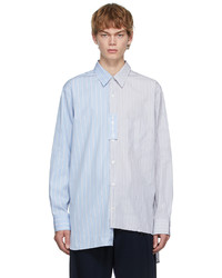 Lanvin Blue Grey Oversized Asymmetric Shirt