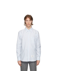 Thom Browne Blue Oxford Hairline Stripe Straight Fit Shirt