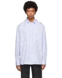 Junya Watanabe Blue Patchwork Striped Shirt