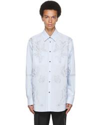 Valentino Blue Stripe Dark Blooming Shirt