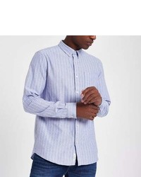 River Island Blue Stripe Long Sleeve Oxford Shirt