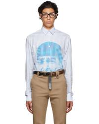 EGONlab Blue White Stripes Scream Shirt