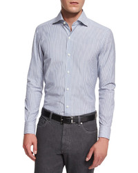 Ermenegildo Zegna Bicolor Striped Long Sleeve Sport Shirt Blue