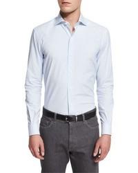 Ermenegildo Zegna Striped Long Sleeve Sport Shirt Light Blue