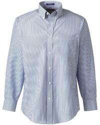 Lands' End Landsend Big Long Sleeve Buttondown No Iron Pattern Broadcloth Shirt