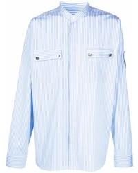 Balmain Logo Patch Striped Shirt