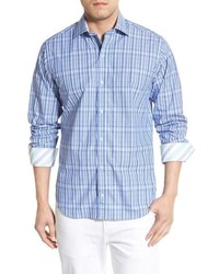 Olive regular fit plaid sport shirt medium 603584