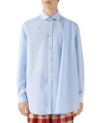 Gucci Pleated Stripe Button Up Shirt