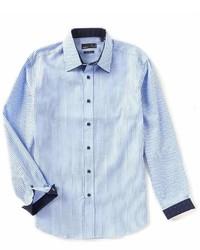 Quieti Modern Fit Diamond Stripe Dobby Long Sleeve Woven Shirt