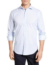 Bugatchi Shaped Fit Stripe Sport Shirt