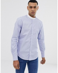 Esprit Slim Fit Grandad Shirt In Blue Stripe