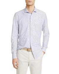 Eleventy Slim Fit Pinstripe Jersey Button Up Shirt