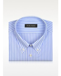 Forzieri Striped Light Blue And White Cotton Shirt
