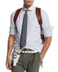Striped woven sport shirt blue medium 949493