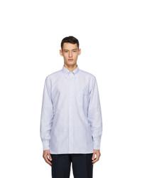 Drakes White And Blue Oxford Stripe Regular Fit Shirt