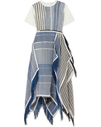 JW Anderson Fringed Asymmetric Cotton Jersey And Striped Gauze Midi Dress
