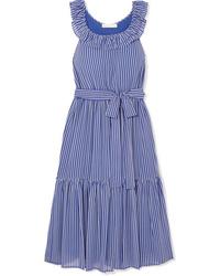 MICHAEL Michael Kors Striped Tiered Crepe Midi Dress