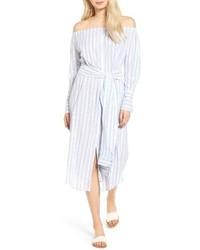 Light Blue Vertical Striped Off Shoulder Dress