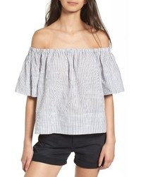 Light Blue Vertical Striped Off Shoulder Top