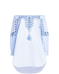 Ermanno Scervino Embroidered Striped Off The Shoulder Blouse