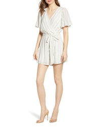 Row A Stripe Tie Front Flutter Sleeve Cotton Blendromper