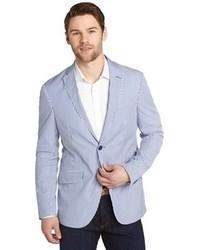 Men's Light Blue Vertical Striped Jackets by Etro | Men's
