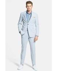 Light Blue Vertical Striped Seersucker Dress Pants