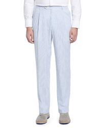 Berle Pleated Seersucker Cotton Dress Pants