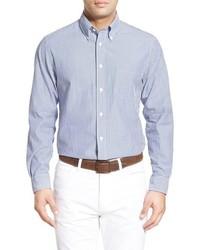 Light Blue Vertical Striped Seersucker Long Sleeve Shirt