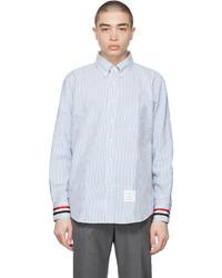 Thom Browne Blue Seersucker Stripe Classic Fit Shirt
