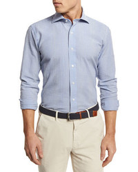 Summer striped seersucker sport shirt blue medium 3648658