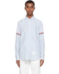 Thom Browne White Blue Seersucker Gros Armband Shirt