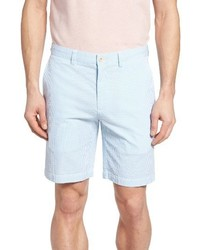 Light Blue Vertical Striped Seersucker Shorts