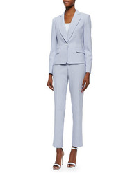 Albert Nipon Seersucker Striped Two Piece Pant Suit