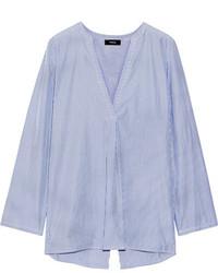 Theory Ofeliah Pinstriped Cotton Poplin Shirt Blue