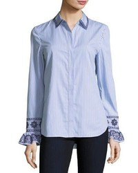 Tory Burch Paige Ombre Striped Embroidered Button Front Shirt