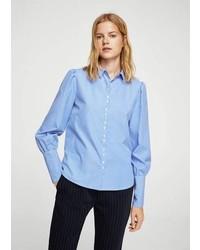 Mango Puffed Sleeves Striped Shirt