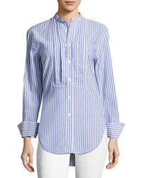 Burberry Striped Stand Collar Shirt With Pintucked Front
