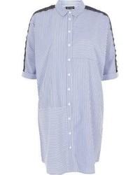 River Island Blue Stripe Print Lace Sleeve Shirt Dress