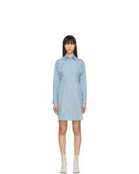 MM6 MAISON MARGIELA Blue Striped Poplin Shirt Dress